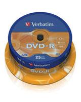 DVD-R 4.7GB Matt Silver Spindle 25 PK - Verbatim