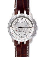 Men Cold Hour Silver Dial Brown Leather Strap Watch YRS403 - Swatch