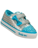 Shuffles Sweet Steps Shoes For Girls Blue Silver/Turquoise 10284N-SLTQ - Skechers