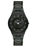 Unisex Crystal Row Black Dial Black Bracelet Watch SFB139AG - Swatch