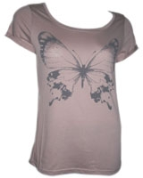 Printed T-Shirt Short Sleeve Butterfly N2103