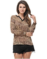Long Sleeve Leopard Printed Blouse 24231 - Ravin