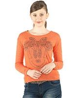 Round Neck Sweatshirt with Front Prints 24390 - Ravin