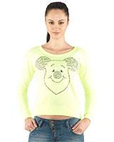 Round Neck Sweatshirt with Front Prints 24391 - Ravin