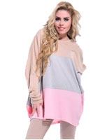 Batwing Wide Stripes Blouse Beige & Gray & Pink Free Size - Guzel