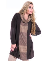 Knitted with Cowl Collar Blouse Brown - Guzel