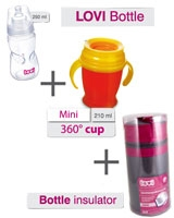 Lovi Bottle Insulator + Lovi 360 Cup + Lovi Wide neck bottle