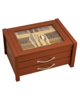 Jana cutlery golden set 87 pieces in wooden box - Nouval