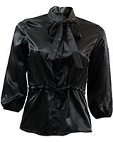 3/4 Sleeve Plain Blouse BL702 Black - Giro