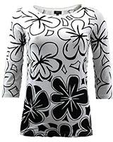3/4 Sleeve Floral Double Tone Top BO1010 Black & White - Giro