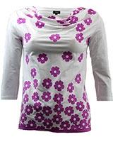 3/4 Sleeve Floral grades Top BO1018 Fuchsia & White - Giro