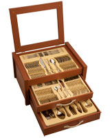 Birmingham cutlery golden set 87 pieces in wooden box - Nouval