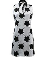 Sleeveless Printed Shift Dress White & Black - Giro