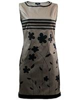 Sleeveless Printed Dress Cafe & Black - Giro