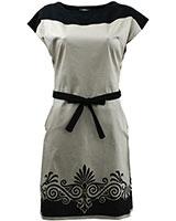 Short Sleeve Printed Shift Dress DR42 Beige & Black - Giro