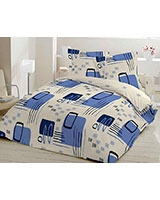 Fitted bed sheet Retro Design Blue - Comfort