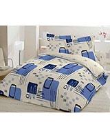 Flat bedsheet Retro Design Blue - Comfort