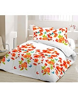 Printed fitted bed sheet Elysian design Nectarine - Comfort