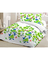 Printed fitted bed sheet Elysian design Tender Shoot - Comfort