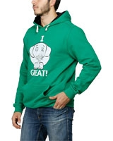 Printed Sweatshirt With Hoodie I Feel Greet Green - Nas