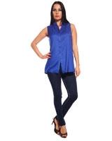 Royal Blue Cotton Sleeveless Top - Guzel
