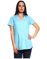 Sky Blue Cotton & Viscose Short Sleeve Plain Shirt - Guzel