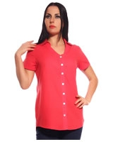 Coral Cotton & Viscose Plain Shirt - Guzel