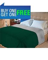 Cotton summer quilt Gray x Dark green size 180x220 - Comfort