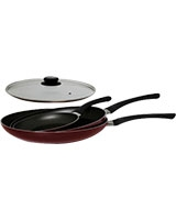 Frypan 20cm + 26cm + Wok 28cm With Glass Lid - Mehtap