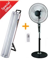 Stand Fan with timer and remote + Emergency light with 2 fluorescent lamp - Alfa