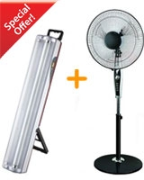 Stand Fan with timer 18 inch + Emergency light with 2 fluorescent lamp - Alfa