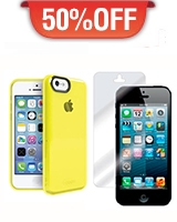Soft Edge Protective Case For Iphone 5C Yellow + Ultimate Gloss Screen Protector for iPhone 5 - Odoyo