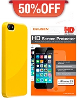 Iphone 5S Case Yellow + HD Screen Protector - Dausen
