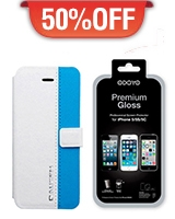 Phone 5c / 5s Flip Stand Case Blue + Glsoss Screen Protector For The Iphone 5 - Dausen