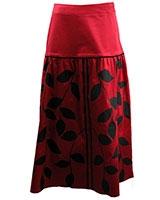 Yoke Skirt with Leaves Print SK411 Red - Giro