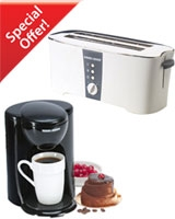 Cool Touch Toaster ET124 + Free 1 Cup Coffee Maker DCM25 - Black & Decker