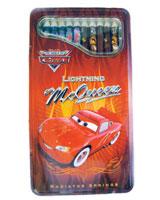 Cars علبة ألوان معدن خشب 12 لون