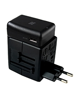 TravelMate.Mobi Universal Auto-Switch Power Adaptor with 2 Ultra-Fast USB Ports and a power socket - Promate