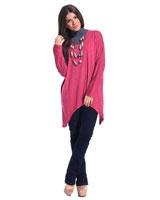 Blouse With V Neck Dark Pink - Guzel