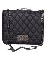 Quilted Squre Lock Clutch Black - Walkies