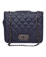 Quilted Squre Lock Clutch NAVY - Walkies