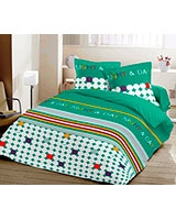 Printed flat bed sheet Night and Day design Emerald - Comfort