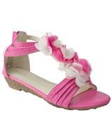 T Bar Sandal With Flowers Fushia - Walkies