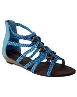 Embelished Open Toe Flat Blue - Walkies