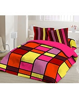 Double size printed bed set Colors design - Comfort