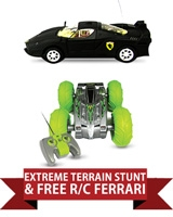 Big Air Extreme R/C All Terrain Stunt Vehicle + Free Ferrari Car with Phone Control