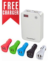 E005FB Mobile Power Supply 7500mAh + Free Car Charger With 2 USB Ports 10.5W C202 - Energiemax