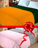 Cotton summer quilt Dark green x Orange + Free quilt Gray x Rose size 180x220 - Comfort