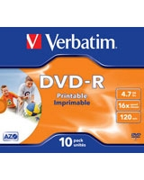 DVD-R 4.7GB Inkjet Matt Printable JC 10 PK - Verbatim