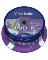 DVD+R 4.7GB Inkjet Matt Printable Spindle 25 PK - Verbatim